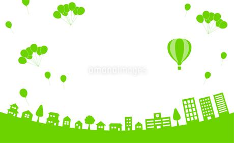 街並み 気球 風船のイラスト素材 [FYI01244612]