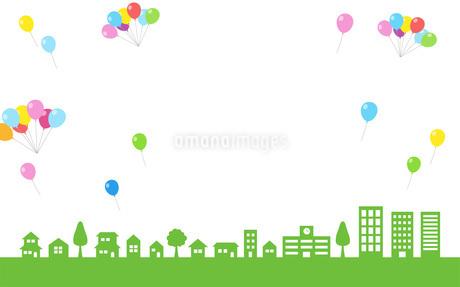 街並み 青空 風船のイラスト素材 [FYI01244613]