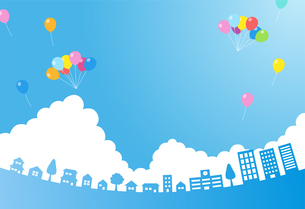 街並み 入道雲と青空 風船のイラスト素材 [FYI01244618]