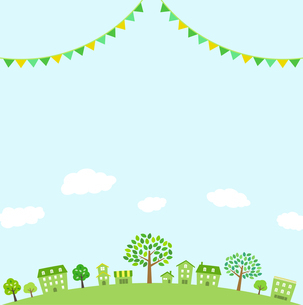 緑の街並み 飾り付き 背景素材のイラスト素材 [FYI01244633]