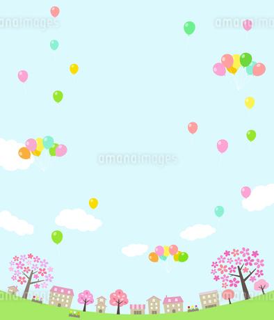 桜並木の街並みとバルーンのイラスト素材 [FYI01244636]