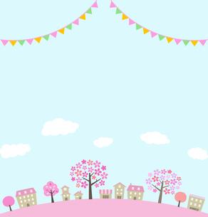 桜並木の街並みと飾りのイラスト素材 [FYI01244637]