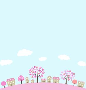 桜並木の街並みと空のイラスト素材 [FYI01244638]