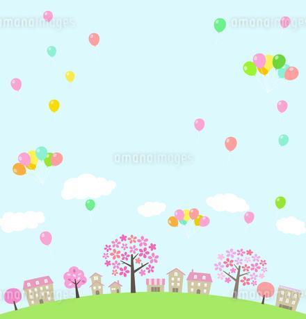 桜並木の街並みとバルーンのイラスト素材 [FYI01244639]