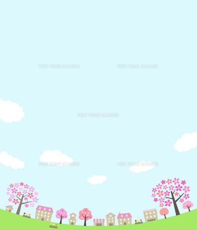 桜並木の街並みと空のイラスト素材 [FYI01244640]