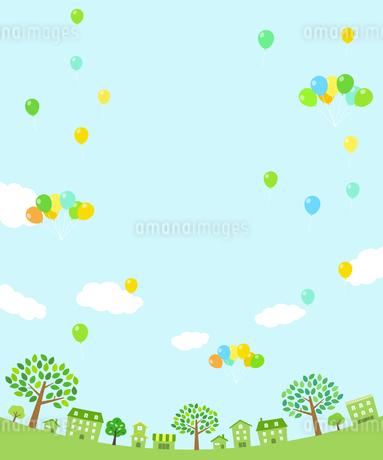 緑の街並みとバルーンのイラスト素材 [FYI01244641]