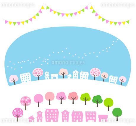 桜吹雪の街並みと飾りのセットのイラスト素材 [FYI01244643]