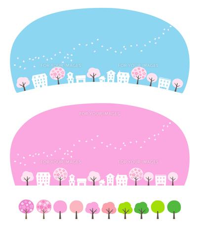 桜吹雪と街並みセットのイラスト素材 [FYI01244644]