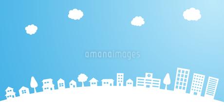 青空と街並み 背景素材のイラスト素材 [FYI01244645]