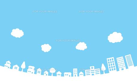 青空と街並み 背景素材のイラスト素材 [FYI01244646]