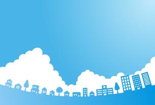 入道雲のある青空と街並み 背景素材のイラスト素材 [FYI01244647]