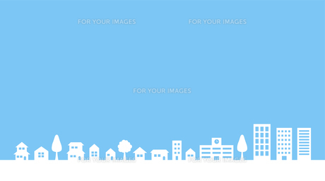 青空と街並み 背景素材のイラスト素材 [FYI01244649]
