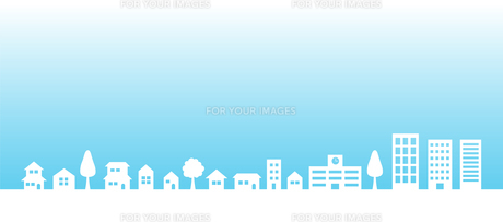 青空と街並み 背景素材のイラスト素材 [FYI01244650]