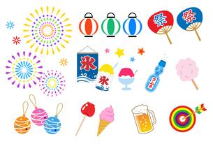 夏祭り アイコンセットのイラスト素材 [FYI01244656]