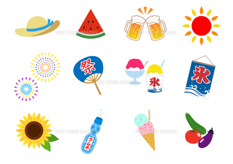 夏のイラストアイコン セットのイラスト素材 [FYI01244657]