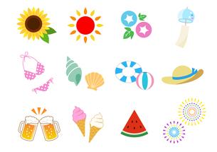 夏のイラストアイコン セットのイラスト素材 [FYI01244660]