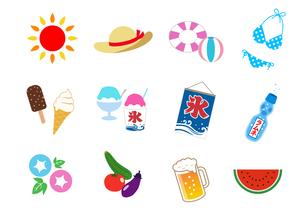 夏のイラストアイコン セットのイラスト素材 [FYI01244661]