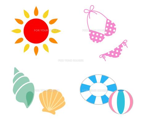 夏の海 アイコンセットのイラスト素材 [FYI01244665]