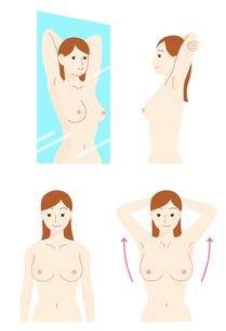 乳がん 自己検診セットのイラスト素材 [FYI01244693]