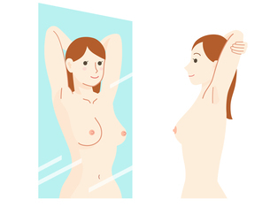 乳がん 自己検診セットのイラスト素材 [FYI01244694]