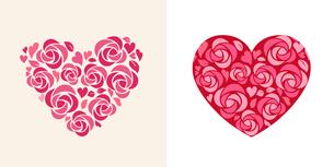 ハート形の花飾りのイラスト素材 [FYI01244701]