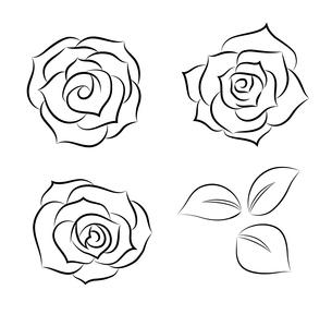 バラのシルエット線画素材のイラスト素材 [FYI01244709]
