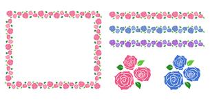 バラの花束 装飾フレームのイラスト素材 [FYI01244728]