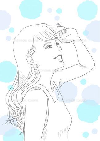 日差しと女性(線画)のイラスト素材 [FYI01244882]