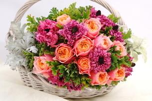 バラとラナンキュラスの花かごの写真素材 [FYI01244898]