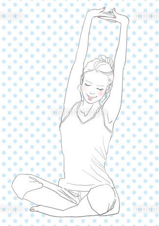 ストレッチする女性(線画)のイラスト素材 [FYI01245292]