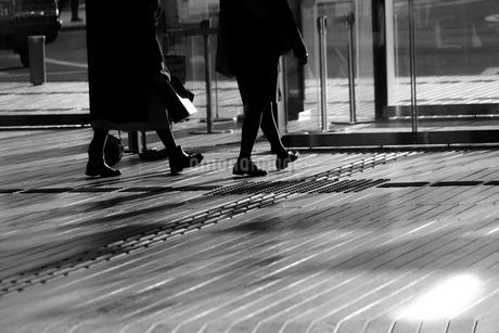 ウッドデッキを歩く人々の影の写真素材 [FYI01245532]