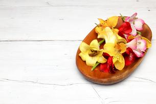 木製の皿に盛ったアルストロメリアとユリの写真素材 [FYI01245570]