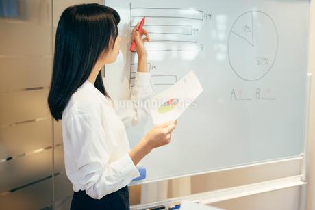 オフィス。ホワイトボードで資料を説明するOL女性の写真素材 [FYI01245737]