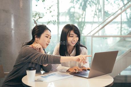 オフィス。パソコンを指さしするOL女性2人の写真素材 [FYI01245743]