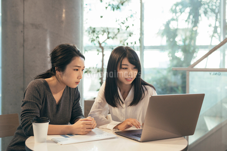 オフィス。パソコンを見つめるOL女性2人の写真素材 [FYI01245744]