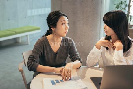 オフィス。資料。パソコン。見つめあうOL女性2人の写真素材 [FYI01245749]