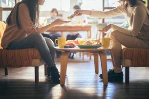 カフェ。ランチ。談笑。女性。取り分けの写真素材 [FYI01245780]