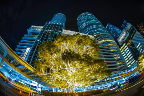 名古屋駅前の夜景の写真素材 [FYI01246069]