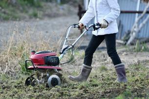 菜園を耕す女性の写真素材 [FYI01246443]