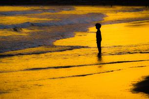 夕暮れの波打ち際で遊ぶ子供の写真素材 [FYI01246715]