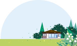 スズランの花がが咲く住宅のイラスト素材 [FYI01247374]