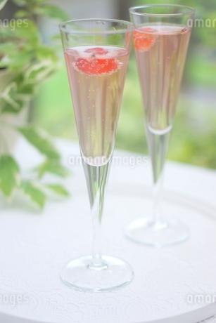 サクランボのシャンパンの写真素材 [FYI01247837]