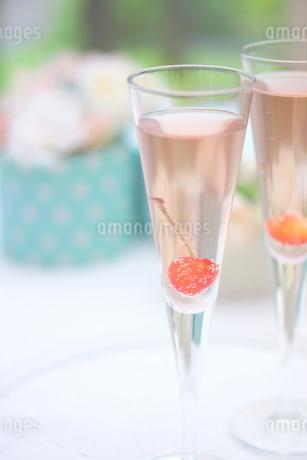 サクランボのシャンパンの写真素材 [FYI01247844]