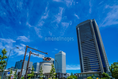 快晴の空とみなとみらいのビル群の写真素材 [FYI01248179]