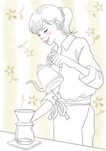 コーヒーを入れる女性のイラスト素材 [FYI01248325]