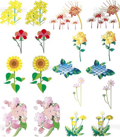 花のカット集_01のイラスト素材 [FYI01249333]