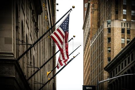 ニューヨーク・ウォール街と星条旗の写真素材 [FYI01249451]