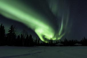 アラスカ、フェアバンクスのチナレイクのオーロラの写真素材 [FYI01250064]