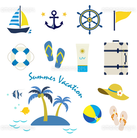 夏の海 アイコンセットのイラスト素材 [FYI01250264]