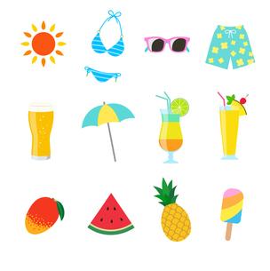 夏の休暇 アイコンセットのイラスト素材 [FYI01250265]